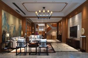 整木定制新中式 复式豪宅实拍图片